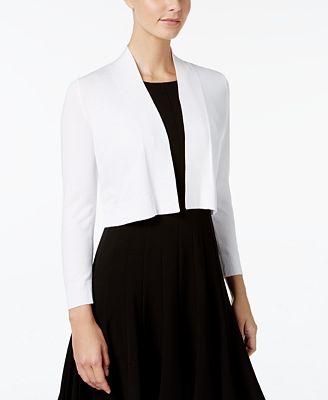 Calvin Klein Cropped Open-Front Cardigan - Sweaters - Women - Macy's