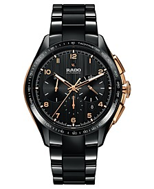 Men's Swiss Automatic Chronograph HyperChrome Black High-Tech Ceramic Bracelet Watch 45mm