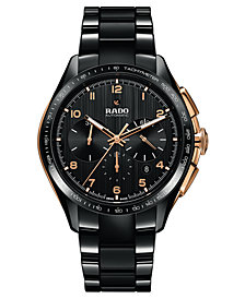 Rado Men's Swiss Automatic Chronograph HyperChrome Black High-Tech Ceramic Bracelet Watch 45mm