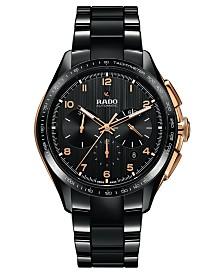 Rado Men's Swiss Automatic Chronograph HyperChrome Black High-Tech Ceramic Bracelet Watch 45mm