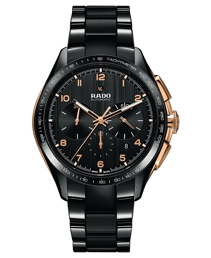 Rado - Men's Swiss Automatic Chronograph HyperChrome Black High-Tech Ceramic Bracelet Watch 45mm