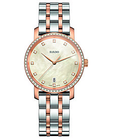 Rado Women's Swiss DiaMaster Diamond (0.3 ct. t.w.) Two-Tone PVD Stainless Steel Bracelet Watch 33mm