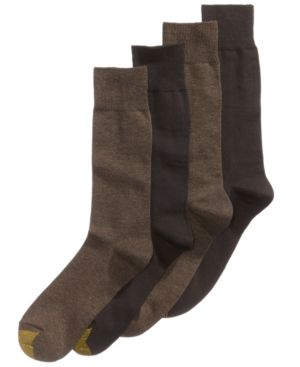GOLD TOE Men'S Socks, Dress Flat Knit 4 Pack, Created For Macy'S in Brown