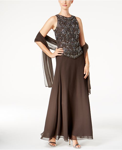J Kara Beaded Gown And Scarf Dresses Women Macys