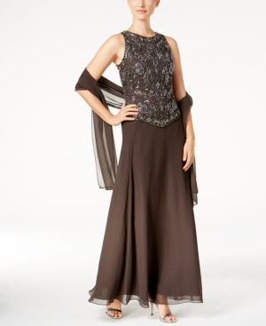 J Kara Beaded Gown and Scarf