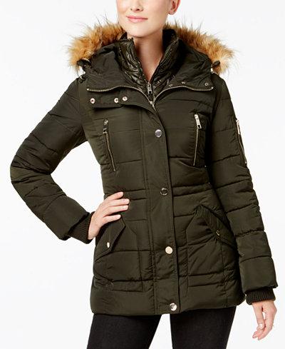 Guess Faux Fur Trim Layered Puffer Coat Coats Women