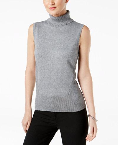 Cable & Gauge Sleeveless Turtleneck Sweater
