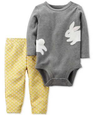Carters 2Pc Cotton Bunny Bodysuit  Pants Set Baby Girls (024 months)