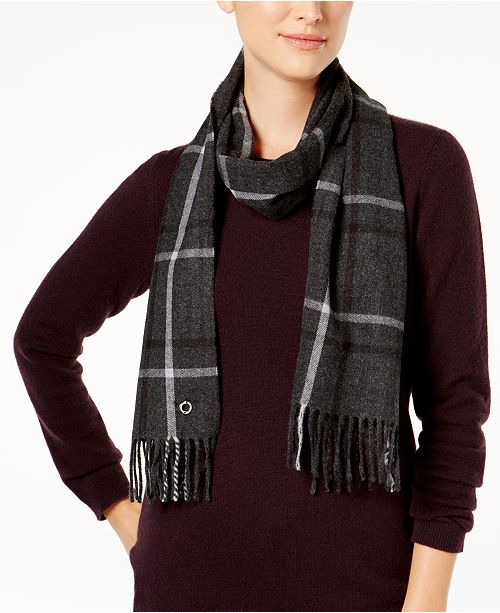 Calvin Klein Double Windowpane Plaid Scarf