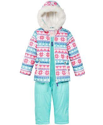 Carter's 2-Pc. Hooded Jacket with Faux-Fur Trim & Pants Snowsuit, Little Girls