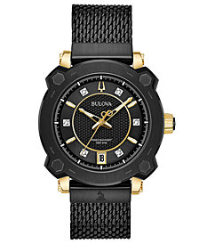Bulova Women's Precisionist GRAMMY® Diamond-Accent Black Stainless Steel Mesh Bracelet Watch 38mm