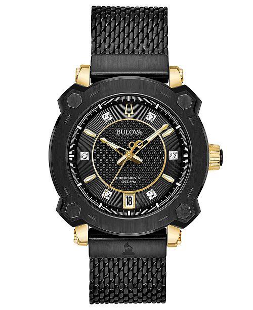 Bulova Women's Precisionist GRAMMY® Diamond-Accent Black Stainless Steel Mesh Bracelet Watch 38mm