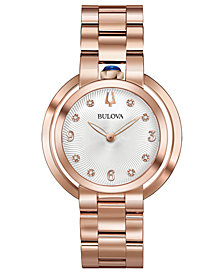 Bulova Women's Rubaiyat Diamond-Accent Rose Gold-Tone Stainless Steel Bracelet Watch 35mm