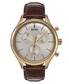 BOSS Hugo Boss Men's Chronograph Companion Brown Leather Strap Watch 42mm