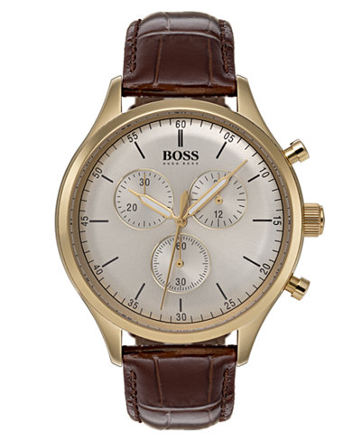 BOSS Hugo Boss Men's Chronograph Companion Brown Leather Strap Watch 42mm
