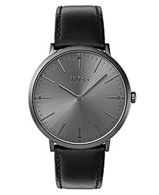 BOSS Hugo Boss Men's Horizon Black Leather Strap Watch 40mm