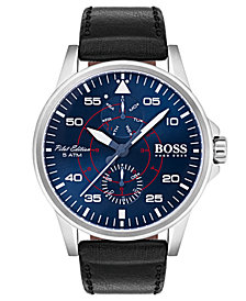 BOSS Hugo Boss Men's Aviator Black Leather Strap Watch 44mm