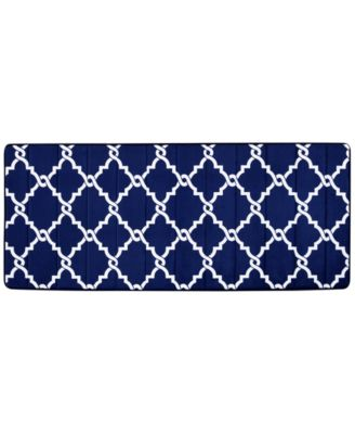 "Merritt Reversible 24"" x 58"" Fretwork-Print Memory Foam Fleece Bath Rug"