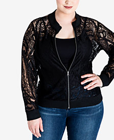 Standards and Practices Plus Size Aria Lace Bomber Jacket