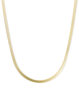 "14k Gold Necklace, 18"" Flat Herringbone Chain (1 1/4mm) by Macy's"