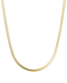 "14k Gold Necklace, 18"" Flat Herringbone Chain"