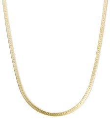"14k Gold Necklace, 18"" Flat Herringbone Chain (1-1/4mm)"