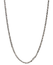 "14k White Gold Necklace, 20"" Diamond Cut Wheat Chain"