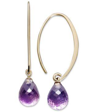14k Gold Earrings, Amethyst Brio Long Hoop (6-1/2 ct. t.w.) -  Macy's