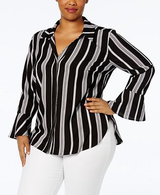NY Collection Plus Size Bell-Sleeve Shirt