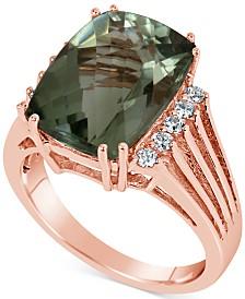 Green Quartz (7 ct. t.w.) & Diamond (1/5 ct. t.w.) Ring in 14k Rose Gold