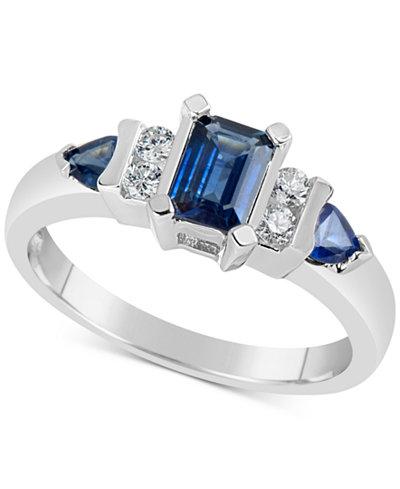 Sapphire (1-1/10 ct. t.w.) & Diamond (1/8 ct. t.w.) Ring in 14k White Gold