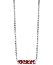 Final Call by EFFY® Multi-Sapphire Horizontal Bar Pendant Necklace (9/10 ct. t.w.) in Sterling Silver
