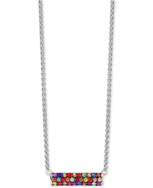 EFFY Collection Final Call by EFFY® Multi-Sapphire Horizontal Bar Pendant Necklace (9/10 ct. t.w.) in Sterling Silver