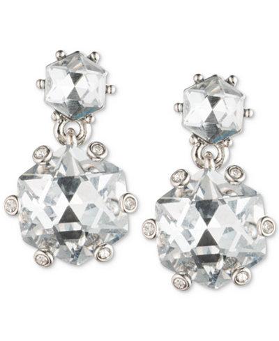 Carolee Silver-Tone Double Crystal Drop Earrings