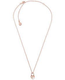 Michael Kors Pavé Heart Lock Pendant Necklace