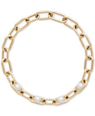 Michael Kors GoldTone Imitation Pearl Large Link Collar Necklace