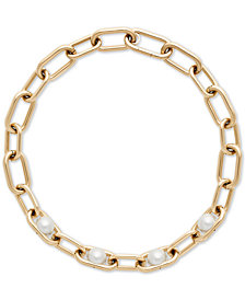 Michael Kors Gold-Tone Imitation Pearl Large Link Collar Necklace