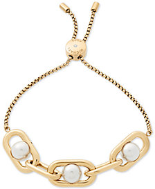 Michael Kors Gold-Tone Imitation Pearl Large Link Slider Bracelet