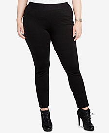 RACHEL Rachel Roy Trendy Plus Size Twill Ponte Leggings