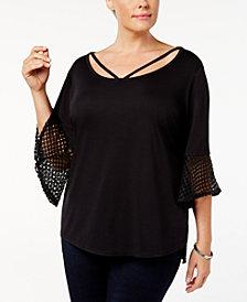 Love Scarlett Plus Size Crochet-Contrast Top