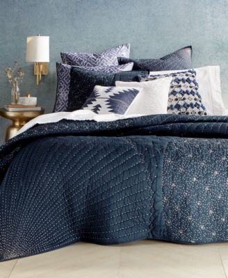 CLOSEOUT! Sashiko Navy Twin Quilt, Created for Macy's