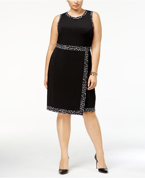 6378a457b74 Michael Kors Plus Size Faux-Wrap Dress   Reviews - Dresses - Plus ...