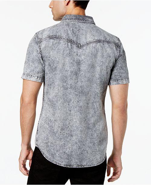 79642054da GUESS Men s Slim-Fit Western Denim Shirt   Reviews - Casual Button ...