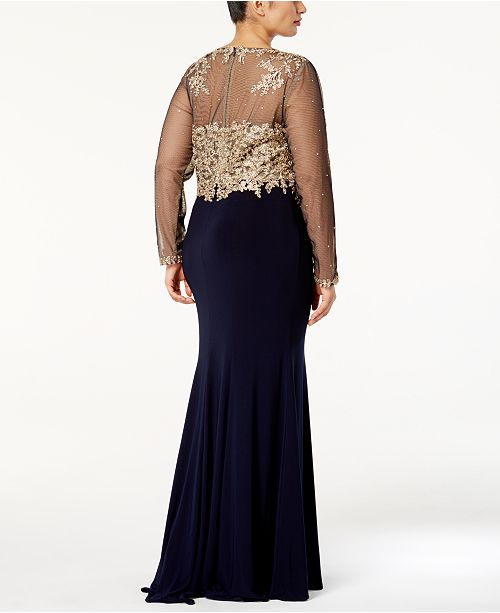d8d46f4adabe5 XSCAPE Plus Size Embroidered Illusion Gown & Reviews - Dresses ...