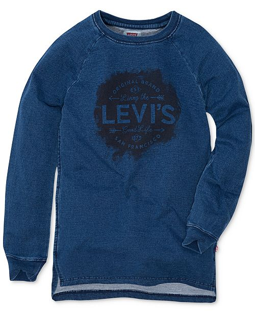 Levi's High Side-Slit Tunic, Big Girls