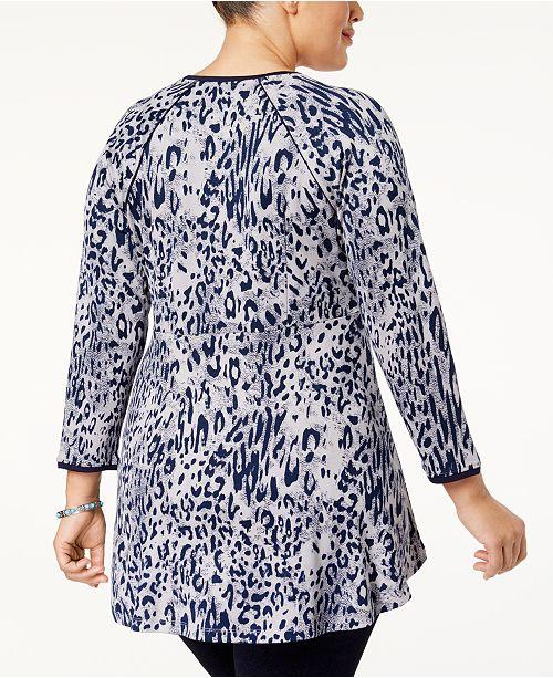 139606496b8a0 Melissa McCarthy Seven7 Trendy Plus Size Animal-Print Peplum Top ...