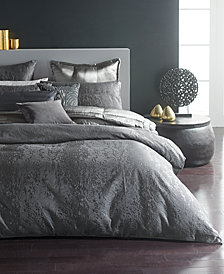 Donna Karan Home Moonscape Reversible Textured Jacquard Charcoal King Duvet Cover