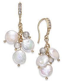 Paul & Pitü Naturally Gold-Tone Pavé, Bead & Imitation Pearl Drop Earrings