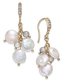 Paul & Pitü Naturally Gold-Tone Pavé, Bead & Imitation Pearl Drop Earrings