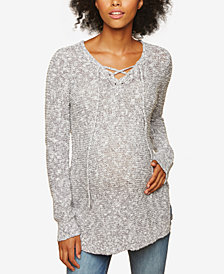 Motherhood Maternity Cotton Lace-Up Sweater